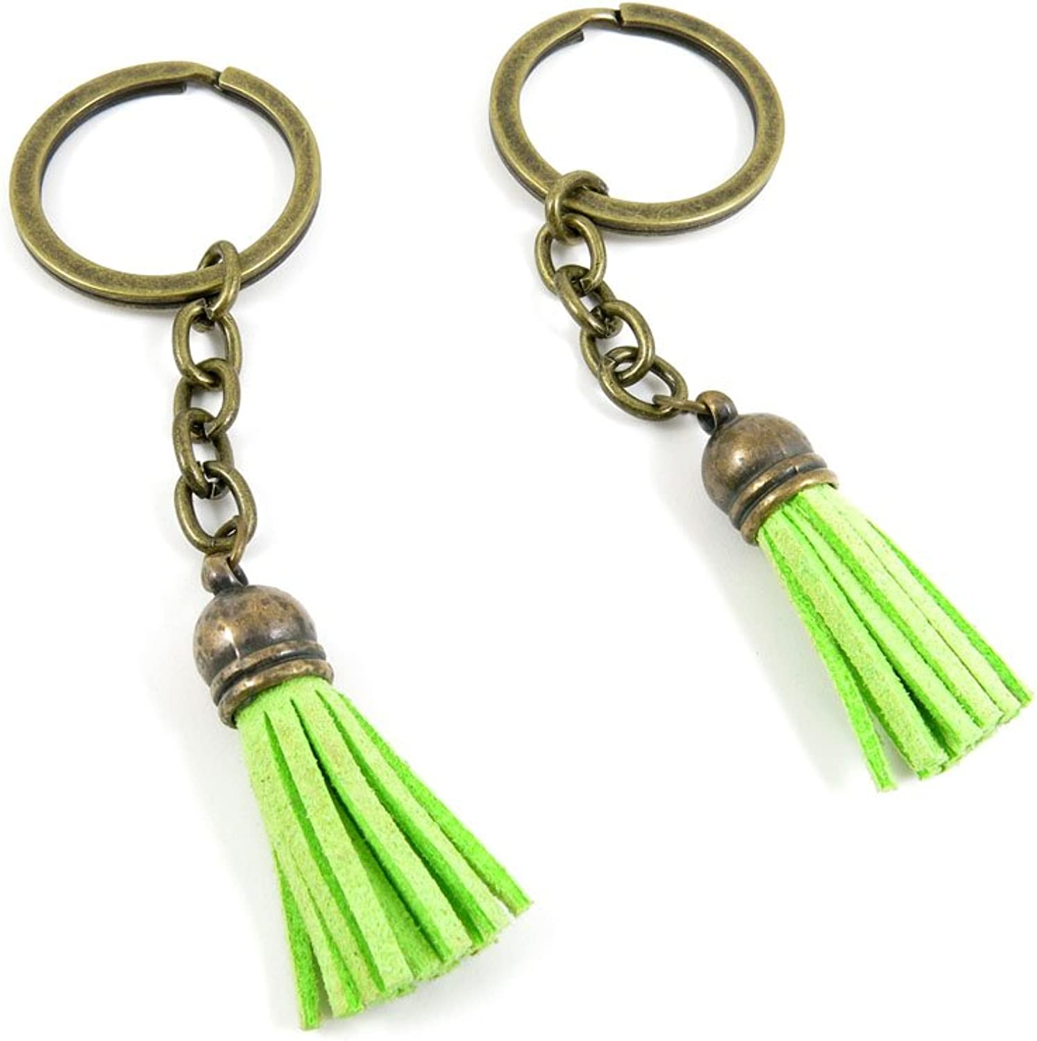 80 PCS Keyring Car Door Key Ring Tag Chain Keychain Wholesale Suppliers Charms Handmade H4CJ3 Pale Green Tassels