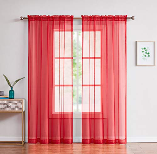 "Amazing Sheer - 2-Piece Rod Pocket Sheer Panel Curtains Fabric Sheer - Voile Curtains for Window Treatment - Natural Light Flow (56"" W x 84"" L - Each Panel, Red)"
