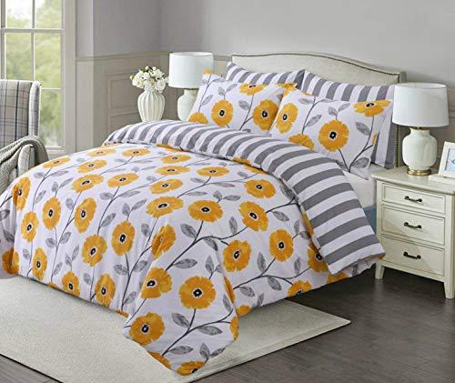 Linen Zone Easy Care Printed Reversible Duvet Cover Set Soft & Durable (Mustard Flower, Single)