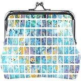 Brieftasche Aquarell Blau Mosaik Quadrat Farbe Münze Geldbörse Beutel Leder Wechselhalter Karte...