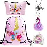 DRESHOW 5 Pack Unicorn Gifts for Girls Unicorn Drawstring Backpack/Make Up...