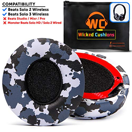 Wicked Cushions Beats Solo 2 Ear Pad Replacement - Compatible with Solo 2 & 3 Wireless On Ear Headphones | Snow Camo