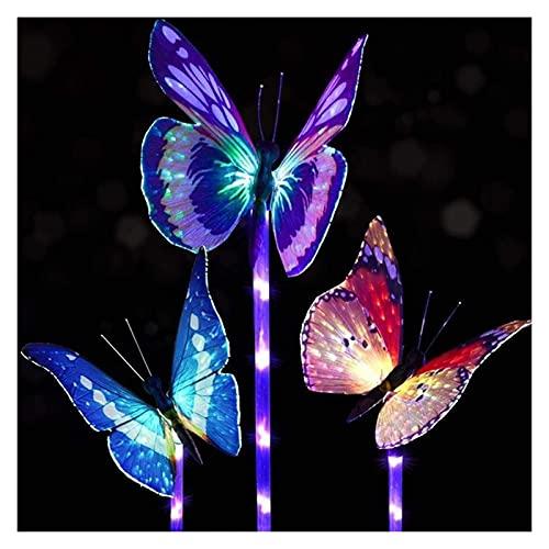 Solar mariposa luz led paisaje ligero jardín ligero de fibra óptica festival de cuento de hadas a prueba de agua a prueba de agua