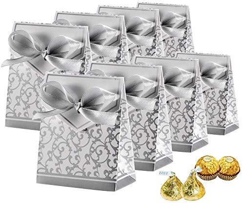 Cajas de caramelos, cajas de regalo para tartas, bolsas de dulces con cintas de regalo para bodas, fiestas, decoración de Pascua, plata, 50 unidades