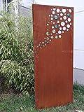 Zen Man Edelrost Garten Sichtschutz aus Metall GlasKugel Rost Gartenzaun Gartendeko edelrost Sichtschutzwand H125*50cm 031918