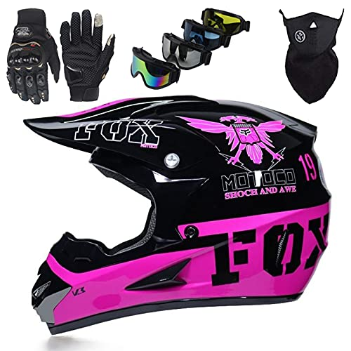 Casco Motocicleta cara Completa, Conjunto de Casco Motocross para Niños con Gafas/Máscara/Guantes, Casco cara Completa para Adultos MTB Quad Bike Cross - con Diseño FOX - Negro Rosa