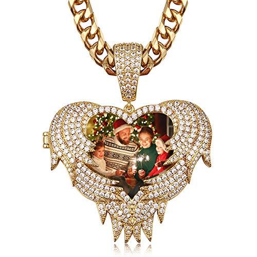 Collar con foto personalizado, collar con alas de ángel, collar con colgante de Hip Hop, joyería personalizada para mujeres(Chapado en oro de 18 k 14)