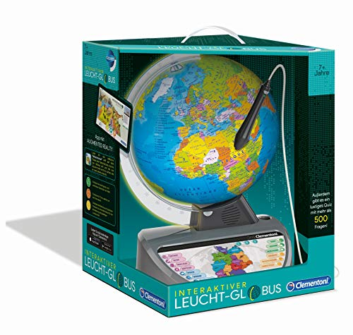 Clementoni 59183 Galileo Science Interaktiver Leucht-Globus mit App, sprechende Weltkugel mit Fragen & Fakten, Spielzeug für Kinder ab 7 Jahren, Lernspielzeug