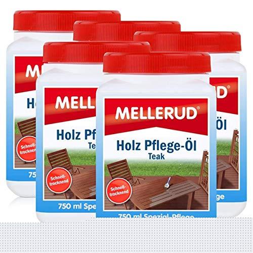 Mellerud Holz Pflege-Öl Farbton Teak 750ml - Spezial-Pflege (5er Pack)