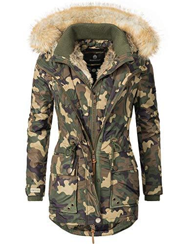 Marikoo Damen Wintermantel Winter Parka Grinsekatze Camouflage Gr. S
