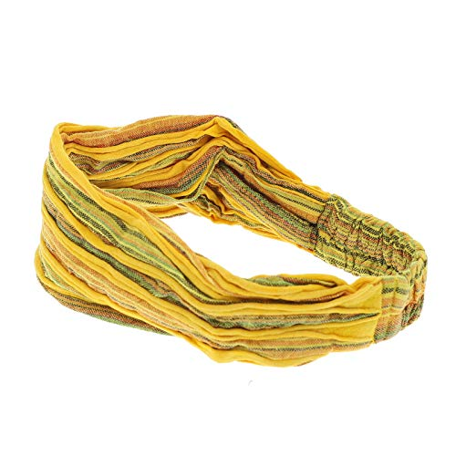 KUNST UND MAGIE unisex hippie Stonewashed Batik Kopfband Stirnband Goa Yoga, Farbe:Gelb