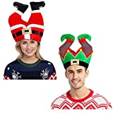 Christmas Santa and Elf Pants Hats for Funny Hilarious and Festive Christmas Party Hat Dress Up Celebrations, Winter Party Favor, Christmas Decorations, Costume Accessories