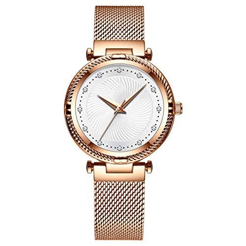 TXOZ Las Mujeres de Lujo del Reloj Ocasional de la Manera Impermeable Relojes de Cuarzo Elegante Reloj del Regalo del Reloj de señoras for niñas, Esposa (Color : Rose Gold)