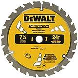 DEWALT 7-1/4' Circular Saw Blade for Framing, ATB, Thin Kerf, 5/8' and Diamond Knockout Arbor, 24-Tooth (DW3178)