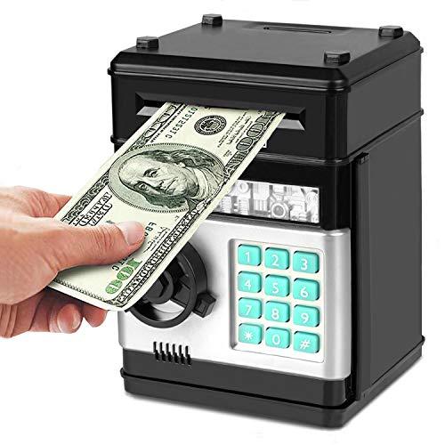 Adevena Electronic Piggy Bank, Mini ATM Password Money Bank Cash Coins Saving Box for Kids, Cartoon Safe Bank Box Perfect Toy Gifts for Boys Girls (Black)