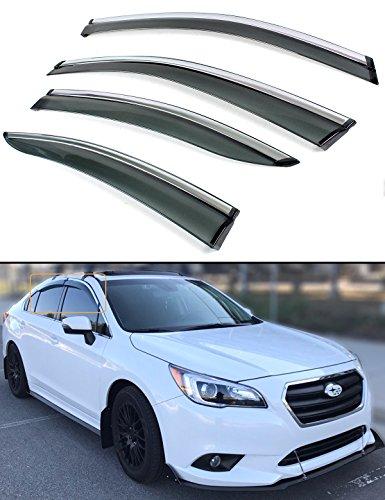 Fits for 2015-2018 Subaru Legacy Sedan Clip-on Smoke Tinted Window Visor Rain Guard W/Chrome Trim