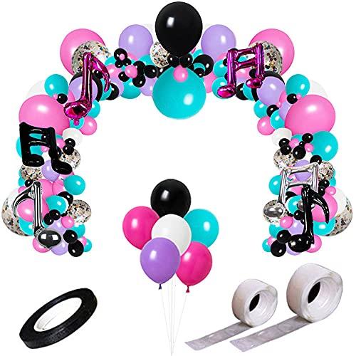 Music Fashion Party Balloon Kit,Karaoke Balloon Garland & Arch Kit,Latex Balloons Confetti Balloon Musical Note Foil Balloon Strip Set for Birthday Party Supplies
