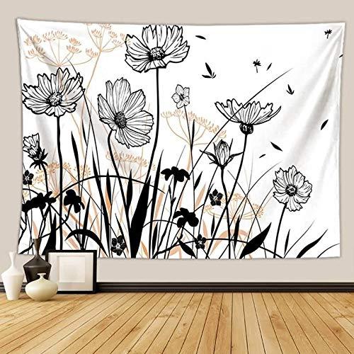 ANAZOZ Tapiz de Tela Indio Poliéster Tapiz Piscina Flores y Diente de León Negro Blanco Style 9 Tapiz Pared 150x200CM