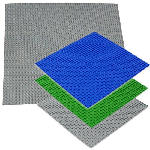 Katara 1672 Set De 4 Plaques Pour Jeux Construction, Compatible Avec Lego, Sluban, Papimax, Q-Bricks: Gris, Bleu, Vert
