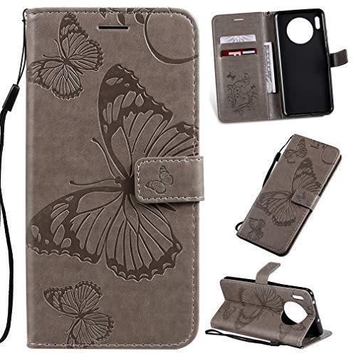 LMFULM® Hülle für Huawei Mate 30 (6,62 Zoll) PU Leder Magnet Brieftasche Lederhülle Schmetterling Geprägtes Design Stent-Funktion Tasche Flip Cover Grau