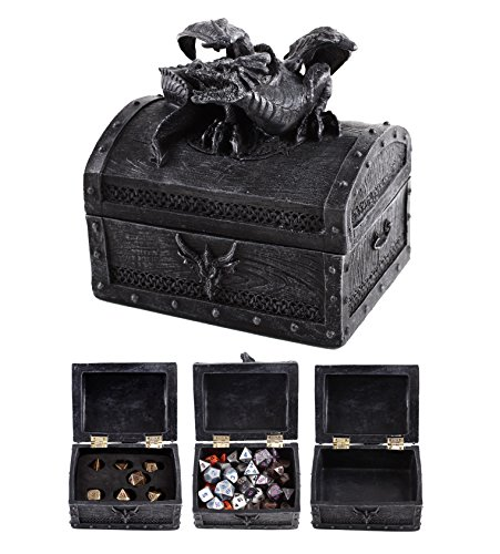Forged Dice Co. Deluxe Dragon Dice Storage Box - Container Holds up to 6 Sets of Polyhedral Dice or 42 Individual Dice