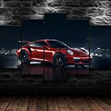 TTTRR Impreso Mural Porsche GT3 Night Racing Coche deportivo 5 Piezas Lienzos Cuadros Impresiones En Lienzo HD Póster Enmarcado Arte Moderno Sala De Estar Decoración del Hogar 150*80 CM