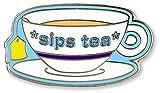 Sips Tea - Hard Enamel Pin (Cloisonne Pin)