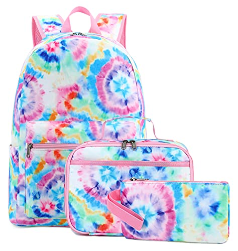 BLUBOON School Backpack for Girls Teens Bookbag Set Laptop Backpack Lunch Box with Pencil Bag (Tie Dye Blue)