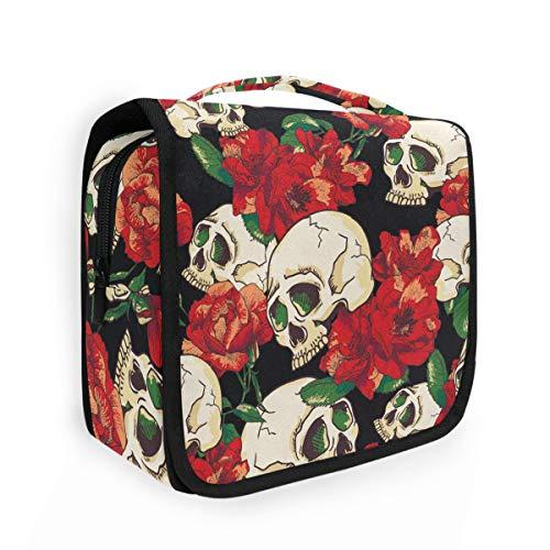 CaTaKu Abstract Floral Skull Cosmetic Bag Toiletry Bag Multifunction Bag Cosmetic Portable Makeup Waterproof Travel Hanging Organizer Bag for Men & Women