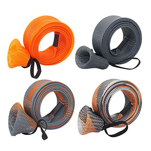 Beetwo Fishing Rod Cover, 4 Pack Fishing Rod Sleeve Sock Pole Glove Protector Cover with Lanyard for Fly, Spinning, Casting, Sea Fishing Rod
