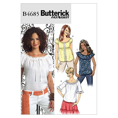 BUTTERICK 4685 BB - Patrón de Costura para Confeccionar Blusas de Mujer (3 Modelos, Tallas 8 a 14 ó 34 a 40)