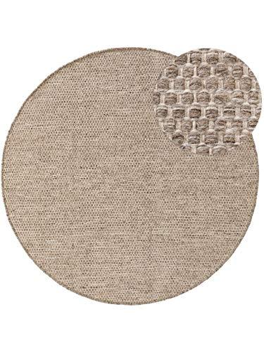 benuta NATURALS Wollteppich Rocco Beige/Schwarz ø 200 cm rund - Naturfaserteppich aus Wolle