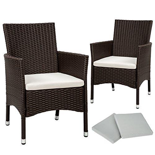 TecTake 2 x Ratán sintético silla de jardín set con cojines + 2 Set de fundas intercambiables + tornillos de acero inoxidable - disponible en diferentes colores - (Marrón antigüedad | No. 402124)