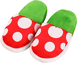 Piranha Plants Slippers Plush Home Wear Cannibal Flower Shape Cosplay Shoes Dot Pattern Slippers Loafer with Pipe Pot Holder for Adults Teens Women and Men
