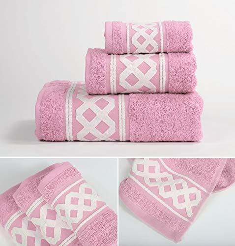 Energy Colors Textil - Hogar - Cenefa Turca - Juego de Toalla 3 Piezas 100% Algodón de 500 Gramos (Rosa Candy)