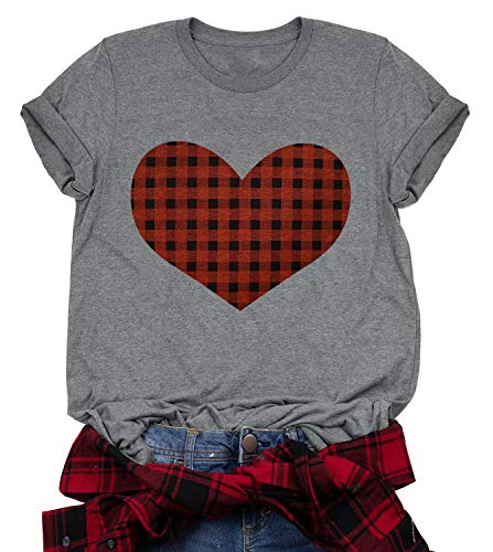 Buffalo Plaid Heart Shirt Top Womens Valentine's Day T Shirt Short Sleeve Cute Graphic Print Tee...