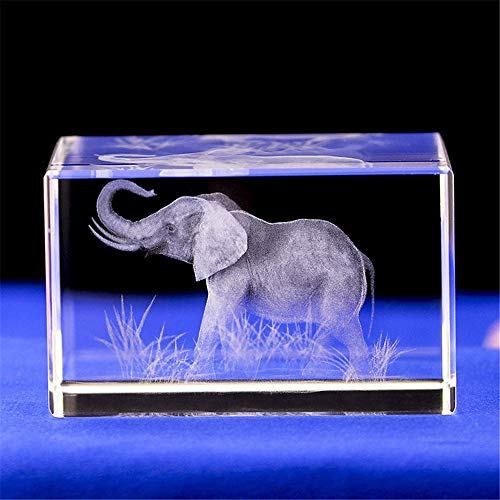 Elephant GIFTS/3d Laser Etched Crystal Art of Elephant Figurines Crystal Glass Cube Engraving for Home Decoration Birthday, Elephant Gifts for Women Girl Children Men (303040mm)