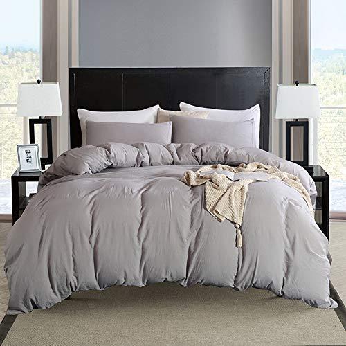 Bonhause Bettwäsche-Set, Queen hellgrau, gewaschene Baumwolle, 3-teilig (1 Bettbezug + 2 Kissenbezüge), ultraweiche Mikrofaser