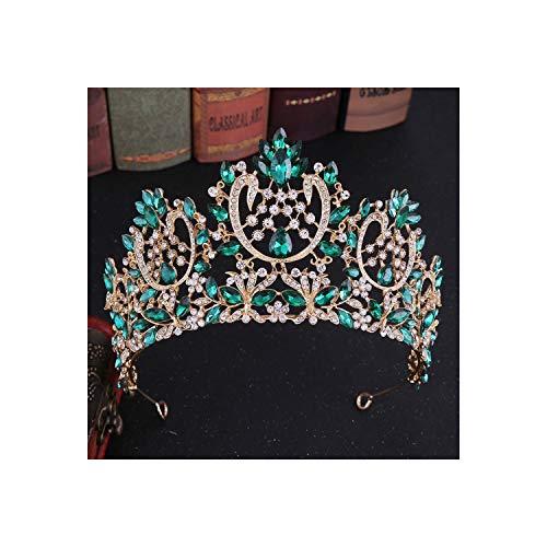 Tiara de novia con cristales brillantes europeos, corona de diamantes de imitación, para desfile Couronne de Mariage, oro verde