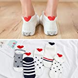 MIWNXM 10 Pares Cartoon Print Cotton Ankle Socks For Women Cat and Animal Cartoon Print Sock For Spring
