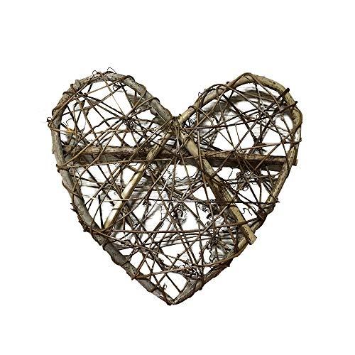Belupai - Ghirlanda natalizia a forma di cuore, in rattan, per matrimoni, albero di Natale, decorazione fai da te per appendere ghirlande intrecciate