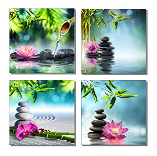 Bamboo Zen Canvas Wall Art Spa Artwork for Walls Contemporary Home Decorations for Living Room Office Bedroom Bathroom Modern Decor(12'x 12'x 4 Panels Framed)