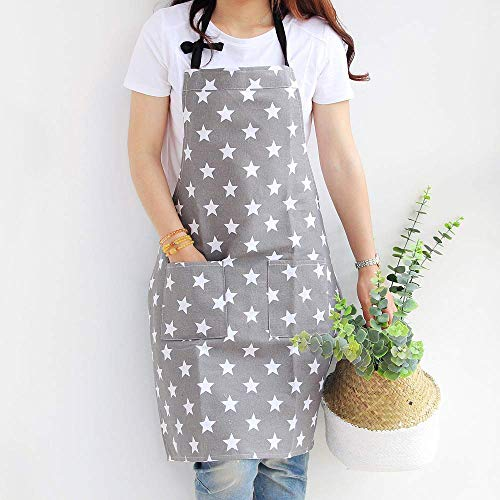 Dusenly Women's Apron With Two Pockets Fashion Star Pattern Cotton & Canvas Aprons for Women Chef kitchen, Cooking, Grill and Baking (Grey)