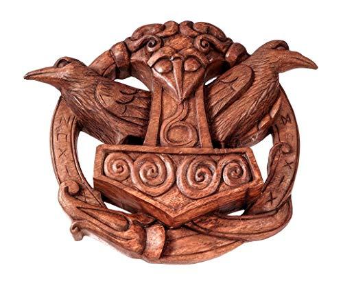 Windalf Handarbeit Pagan Thorshammer Holzbild Hugin & Munin 24 cm Odins Raben mit Runen Wandrelief Holzdeko Nordische Mythologie Holz