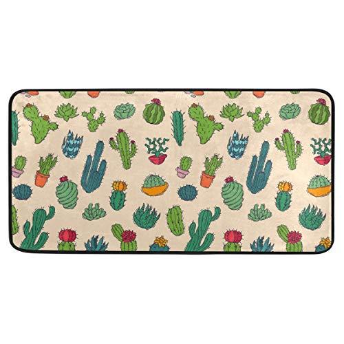 Chic Houses - Alfombra larga para cocina, diseño de cactus, pintura a mano, antideslizante, antifatiga, impermeable, perfecta para cocina, 99 x 50 cm, 2030178