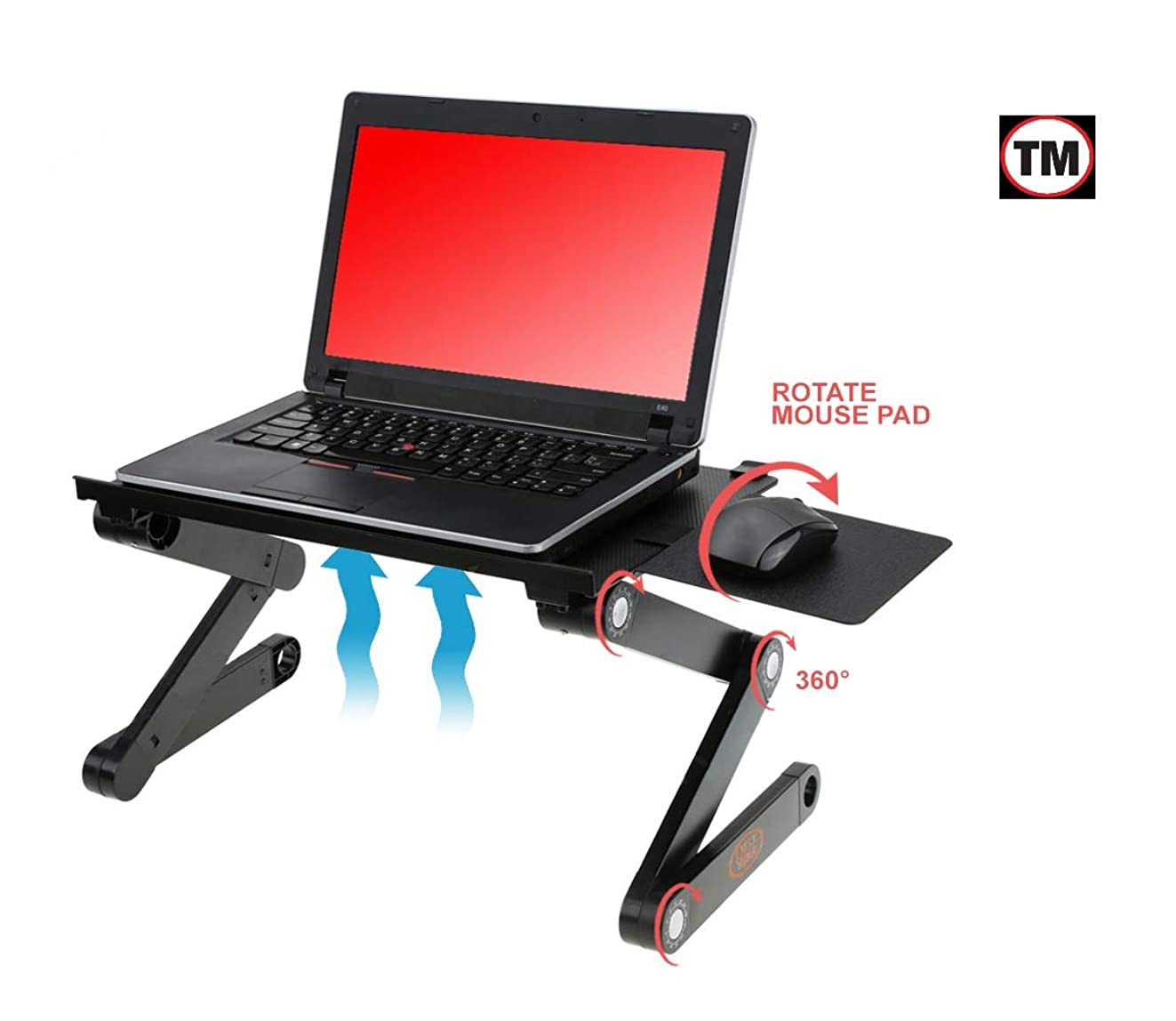 Desk York Portable Laptop Stand - Best Gift for Friend-Men-Women-Student - Recliner/Bed Lap Tray - Aluminum Light Table for Computer -2 Built in Cooling Fans - Mouse Pad and USB Cord -Up to 17