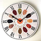 Mtye Reloj de Sala/Reloj de Pared de Madera/Reloj de Pared de Cuarzo Moderno/Retro hogar 30 cm Reloj de Pared Redondo de Madera silencioso D-01
