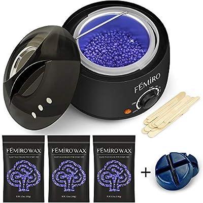 Wax Heater, FEMIRO Hair Removal Waxing Kit for Women Men Painless Electric Wax Warmer with 4 Bags Hard Wax (3.5oz/Bag) 20 Waxing Spatulas