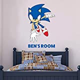 Sonic The Hedgehog Wall Sticker Sonic Personalised Name Vinyl Decal Kids Bedroom Art (60cm Height x 45cm Width)