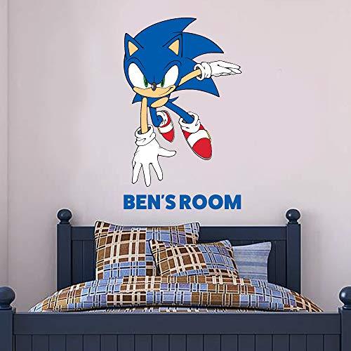 Sonic The Hedgehog Wall Sticker Sonic Personalised Name Vinyl Decal Kids Bedroom Art (90cm Height x 70cm Width)